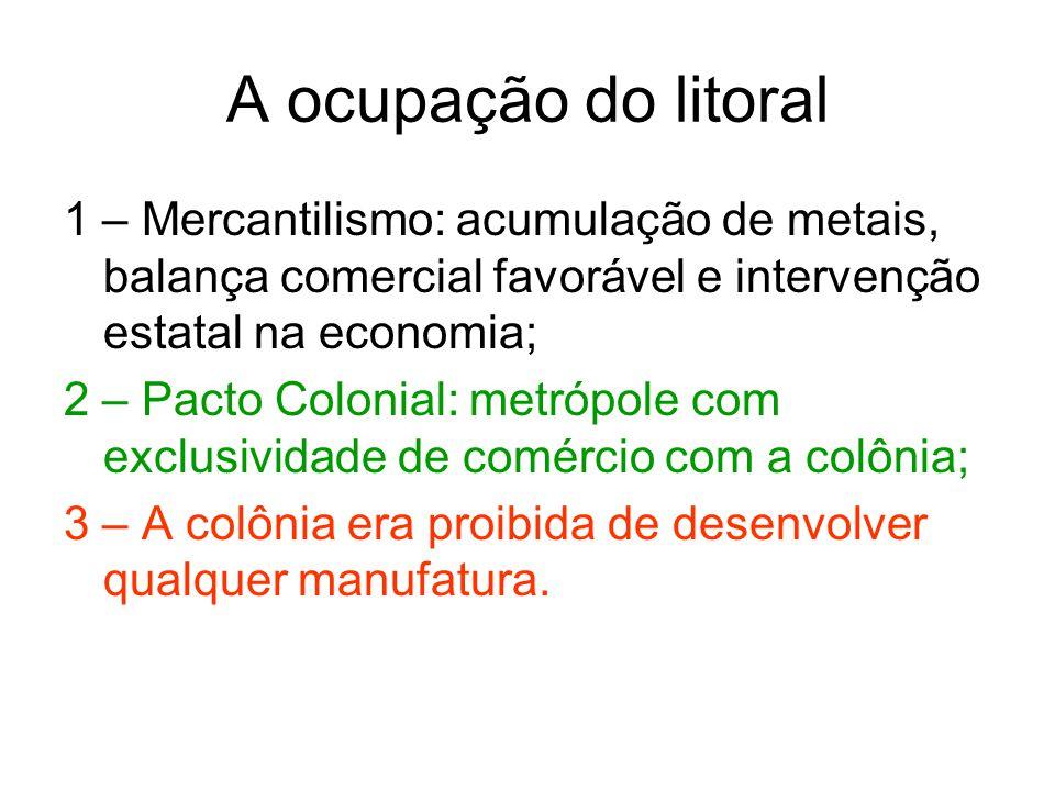 A ocupação do litoral 1 – Mercantilismo: acumulação de metais, balança comercial favorável e intervenção estatal na economia;