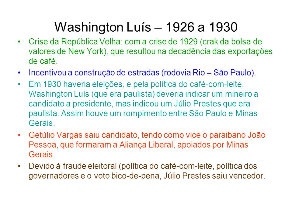Washington Luís – 1926 a 1930