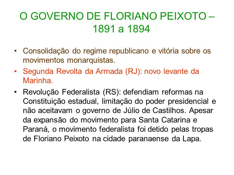 O GOVERNO DE FLORIANO PEIXOTO – 1891 a 1894