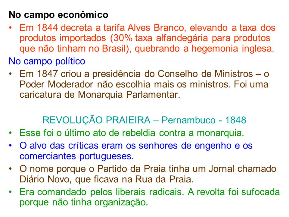 REVOLUÇÃO PRAIEIRA – Pernambuco - 1848