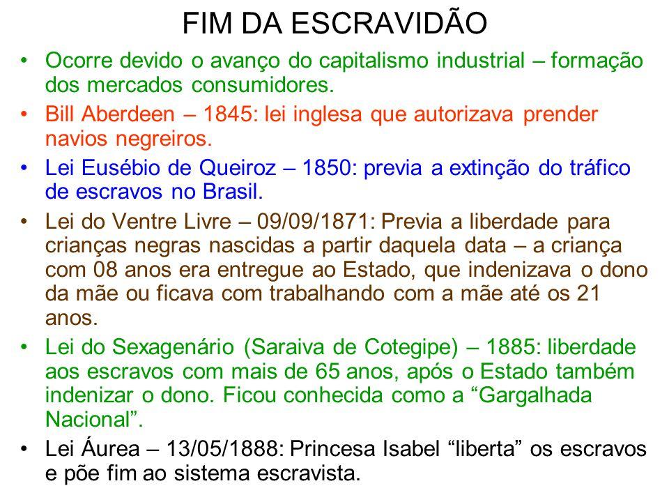 FIM DA ESCRAVIDÃO Ocorre devido o avanço do capitalismo industrial – formação dos mercados consumidores.