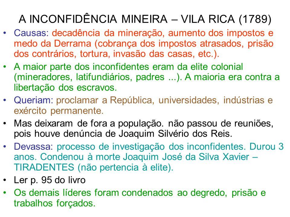 A INCONFIDÊNCIA MINEIRA – VILA RICA (1789)