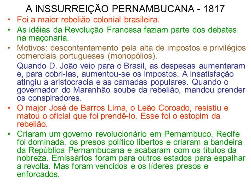A INSSURREIÇÃO PERNAMBUCANA - 1817