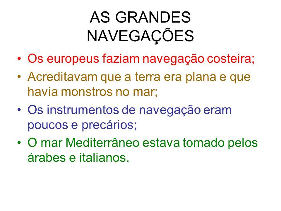 AS GRANDES NAVEGAÇÕES Os europeus faziam navegação costeira;