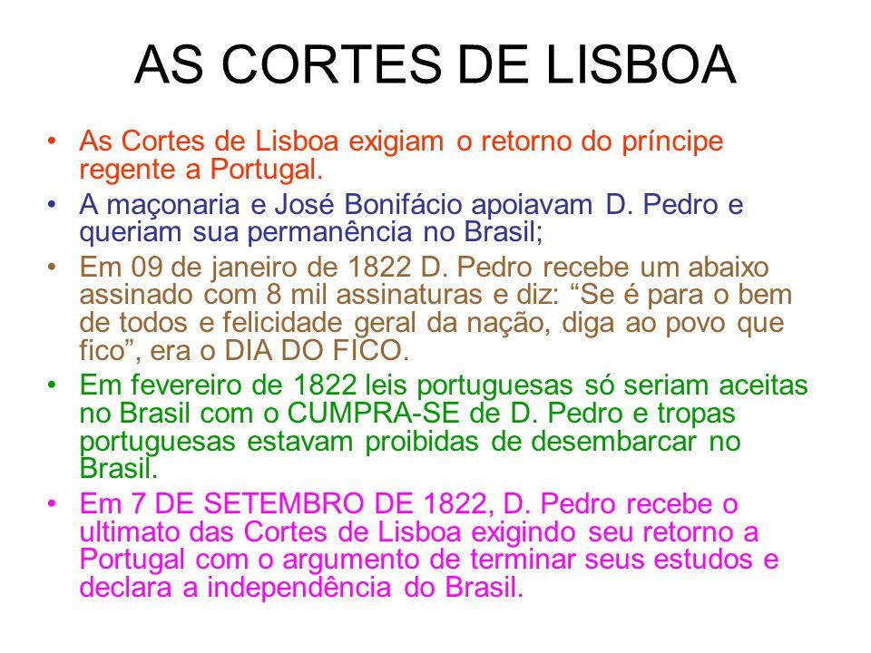 AS CORTES DE LISBOA As Cortes de Lisboa exigiam o retorno do príncipe regente a Portugal.