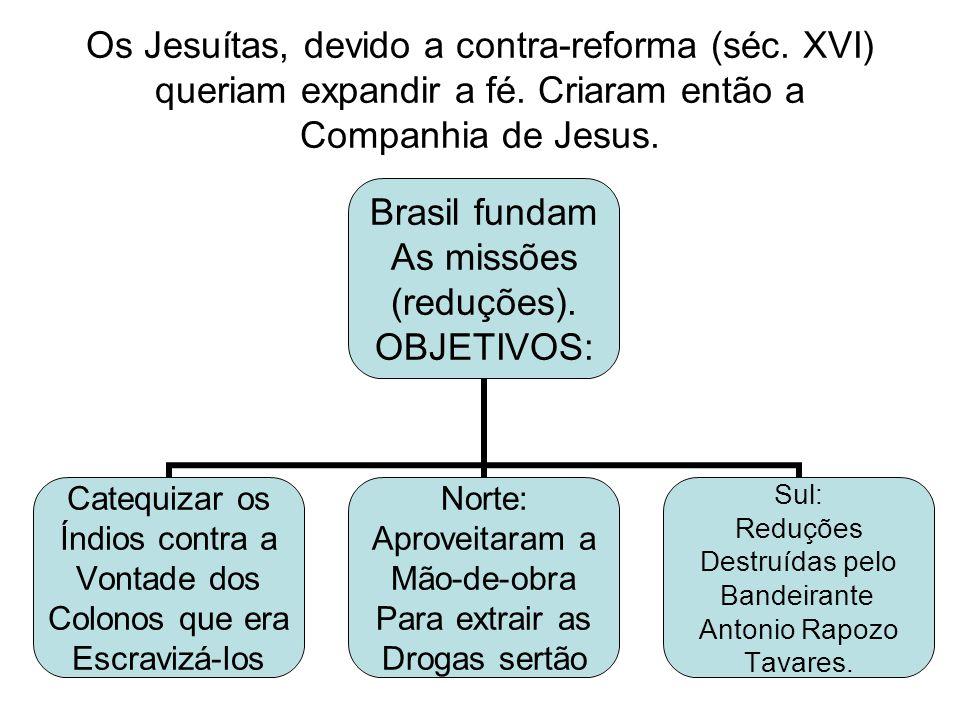 Os Jesuítas, devido a contra-reforma (séc. XVI) queriam expandir a fé