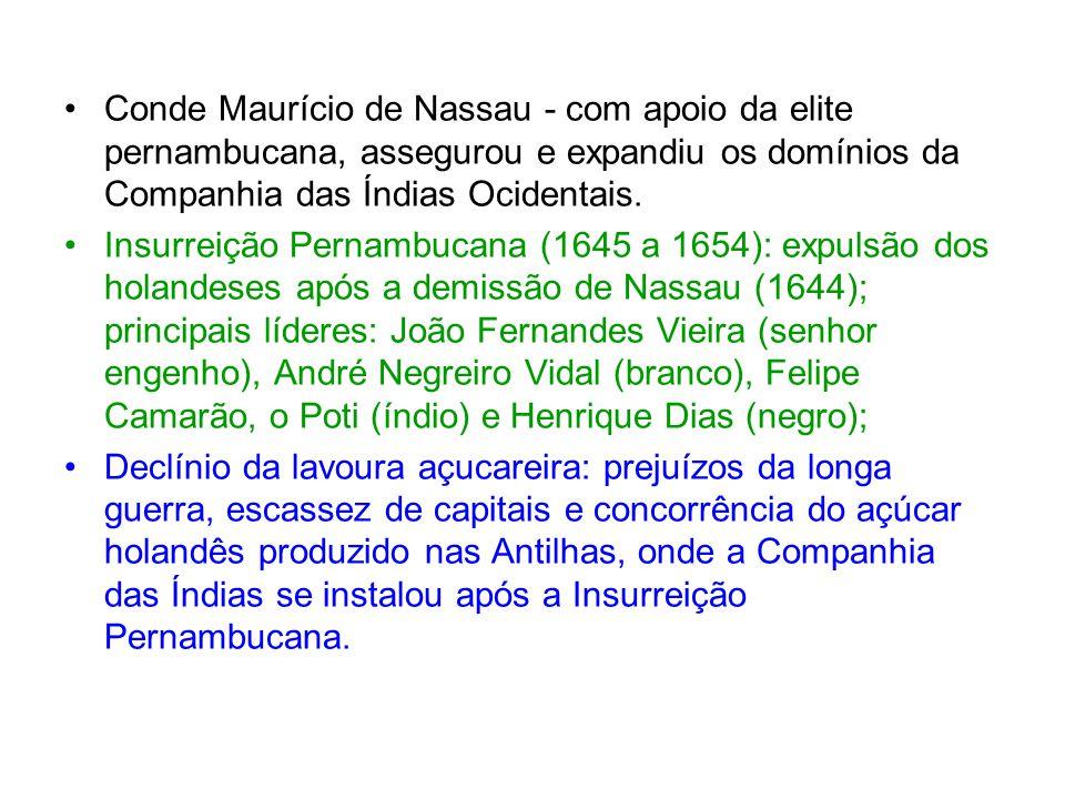 Conde Maurício de Nassau - com apoio da elite pernambucana, assegurou e expandiu os domínios da Companhia das Índias Ocidentais.