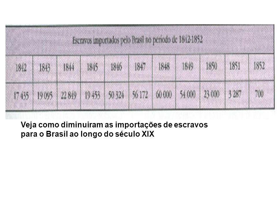 Veja como diminuiram as importações de escravos