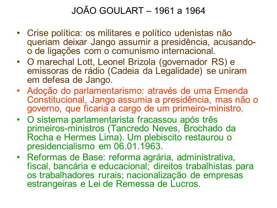 JOÃO GOULART – 1961 a 1964