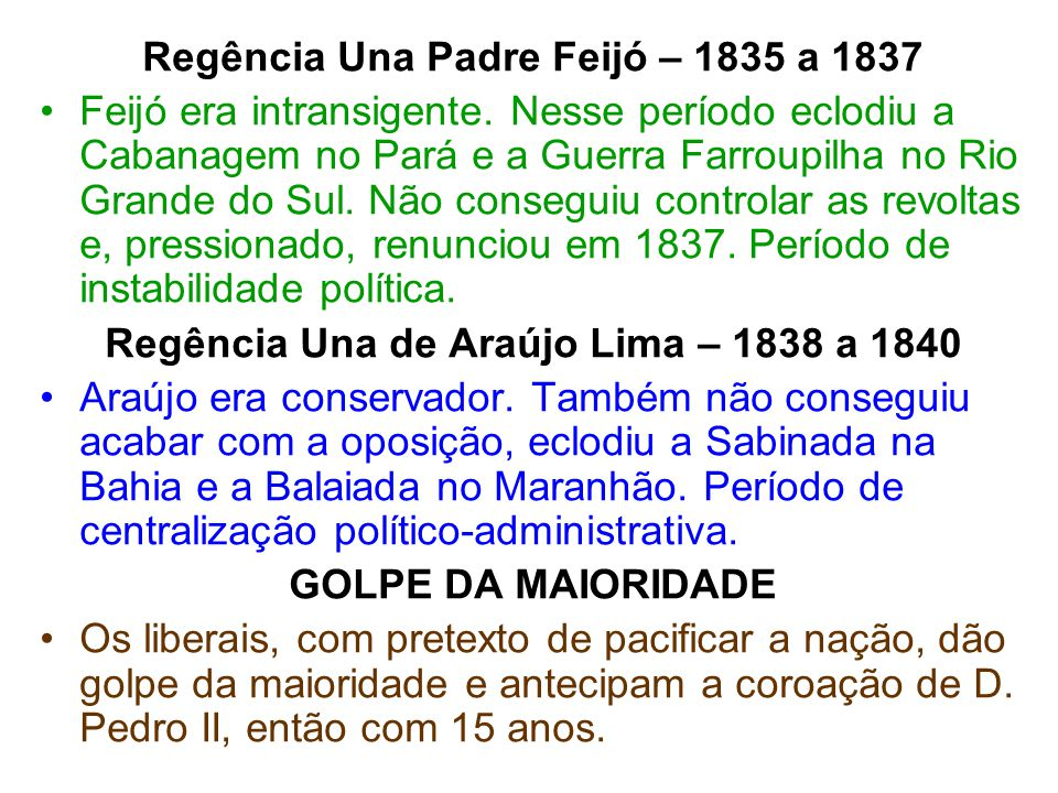 Regência Una Padre Feijó – 1835 a 1837