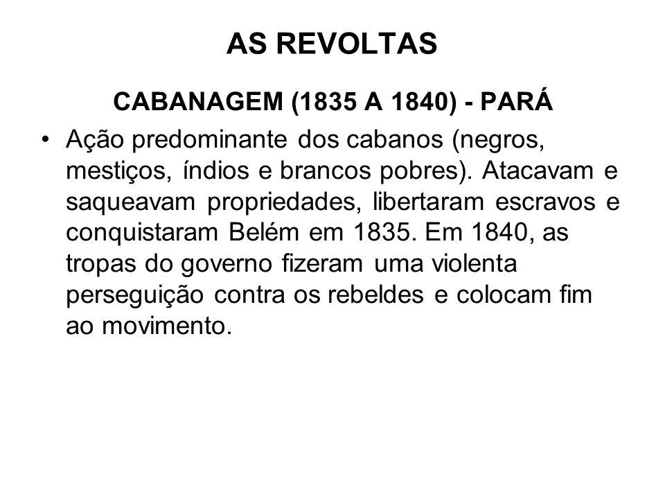 AS REVOLTAS CABANAGEM (1835 A 1840) - PARÁ