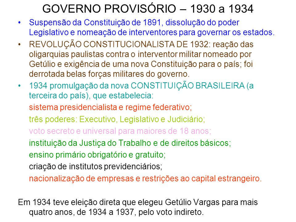 GOVERNO PROVISÓRIO – 1930 a 1934