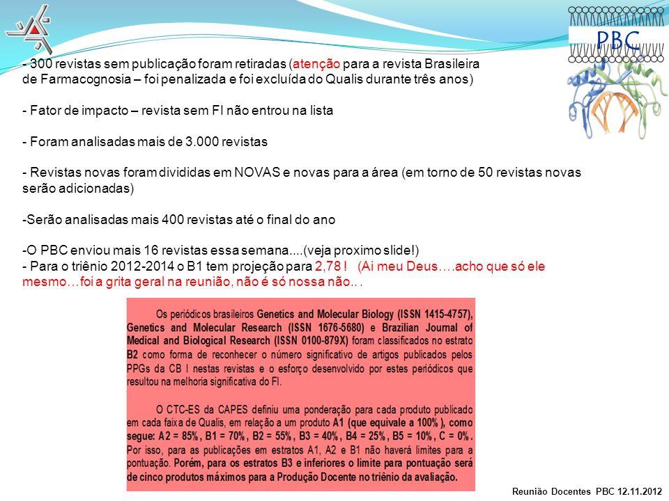 PBC 300 revistas sem publicação foram retiradas (atenção para a revista Brasileira.