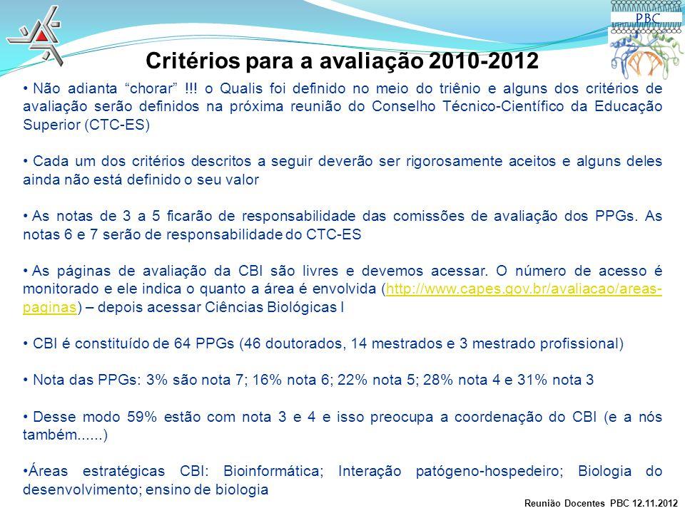 Critérios para a avaliação 2010-2012