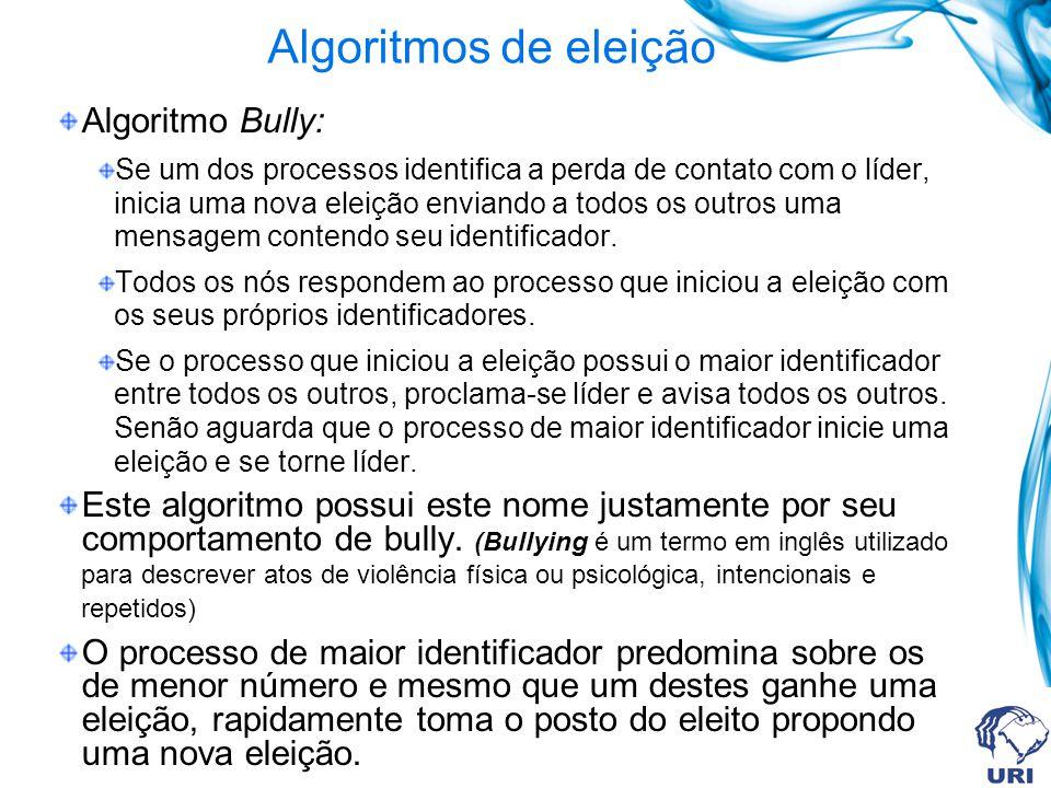 Algoritmos de eleição Algoritmo Bully: