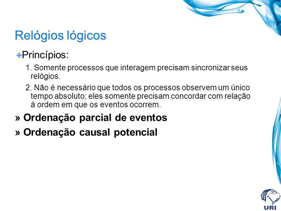 Relógios lógicos Princípios: » Ordenação parcial de eventos