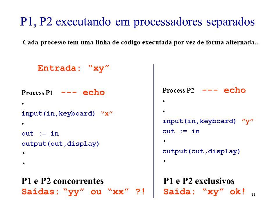P1, P2 executando em processadores separados