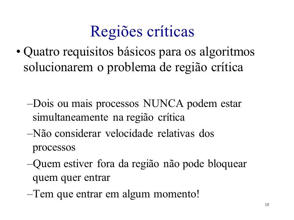 Regiões críticas Quatro requisitos básicos para os algoritmos solucionarem o problema de região crítica.
