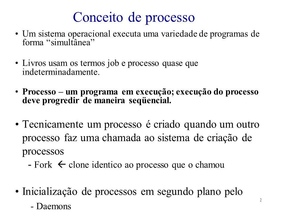 Conceito de processo Um sistema operacional executa uma variedade de programas de forma simultânea