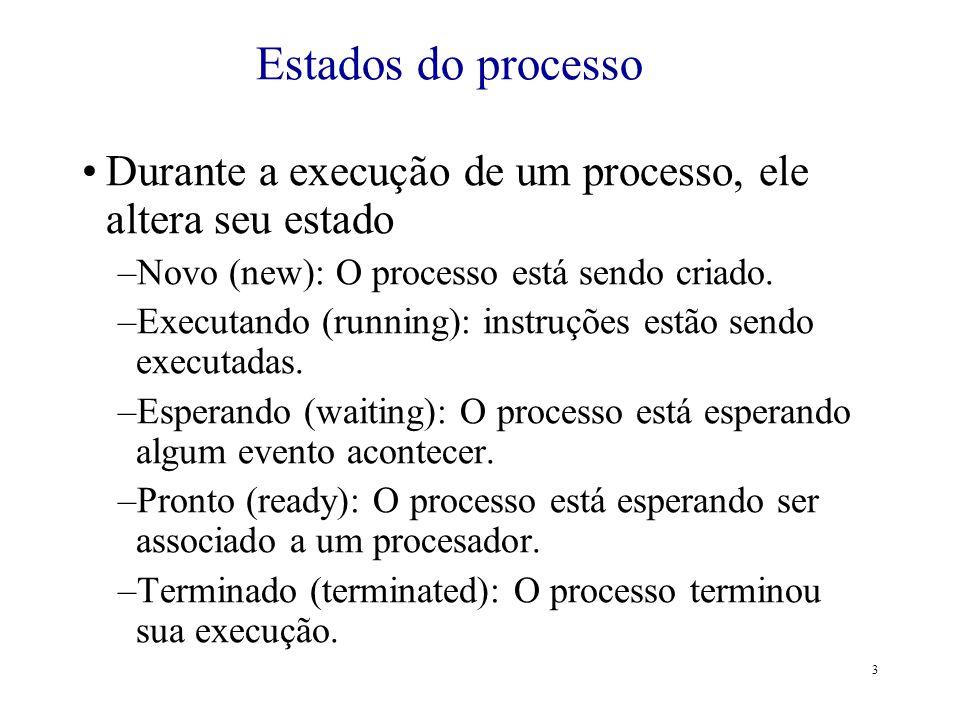 Estados do processo Durante a execução de um processo, ele altera seu estado. Novo (new): O processo está sendo criado.