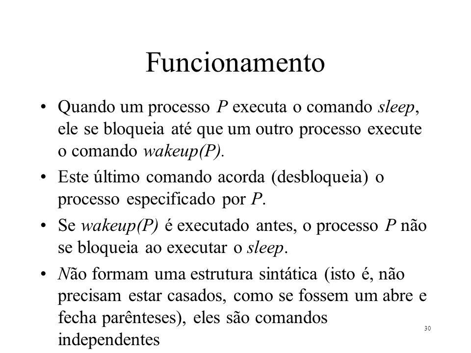 Funcionamento Quando um processo P executa o comando sleep, ele se bloqueia até que um outro processo execute o comando wakeup(P).