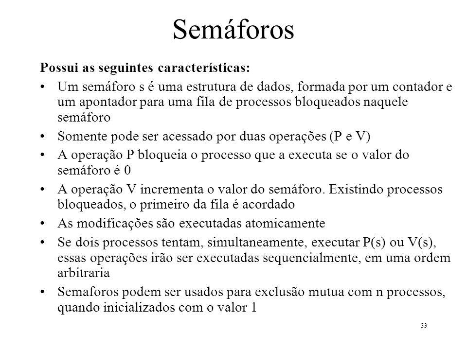 Semáforos Possui as seguintes características: