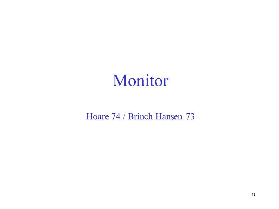 Monitor Hoare 74 / Brinch Hansen 73