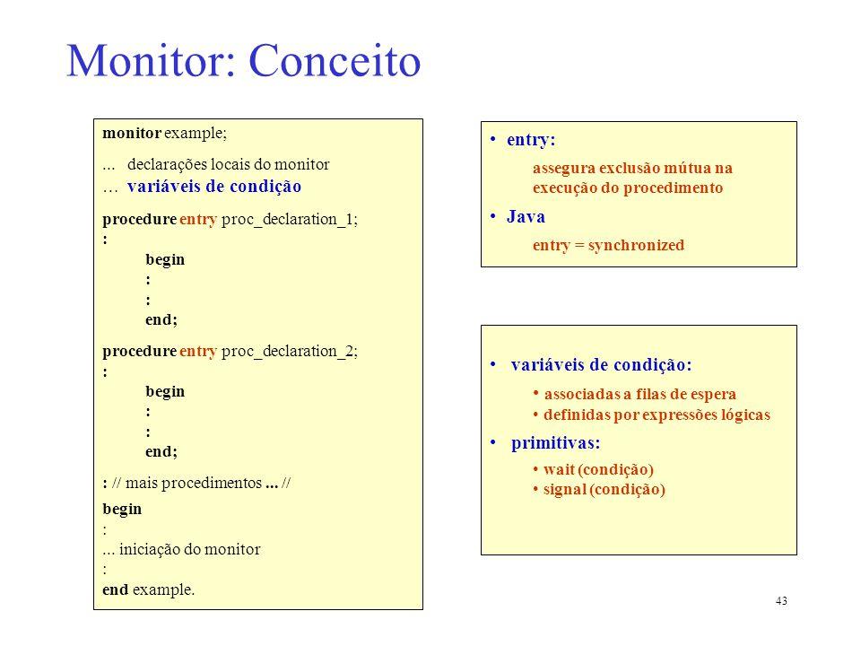 Monitor: Conceito entry: Java variáveis de condição: