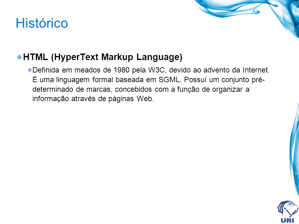 Histórico HTML (HyperText Markup Language)