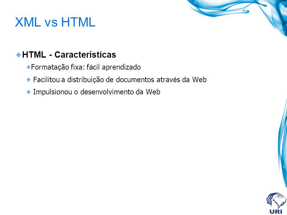 XML vs HTML HTML - Características Formatação fixa: fácil aprendizado