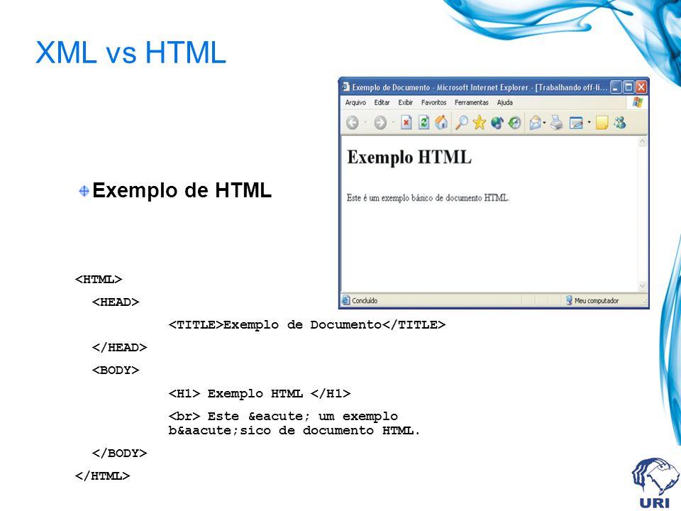 XML vs HTML Exemplo de HTML <HTML> <HEAD>