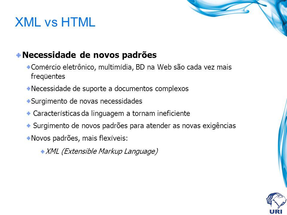 XML vs HTML Necessidade de novos padrões