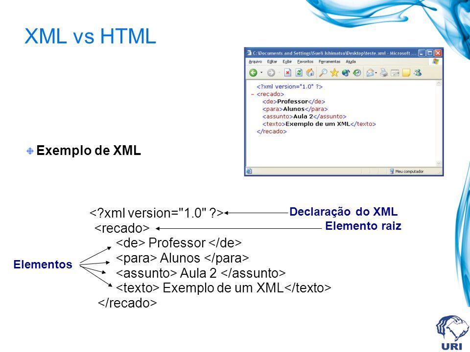 XML vs HTML Exemplo de XML