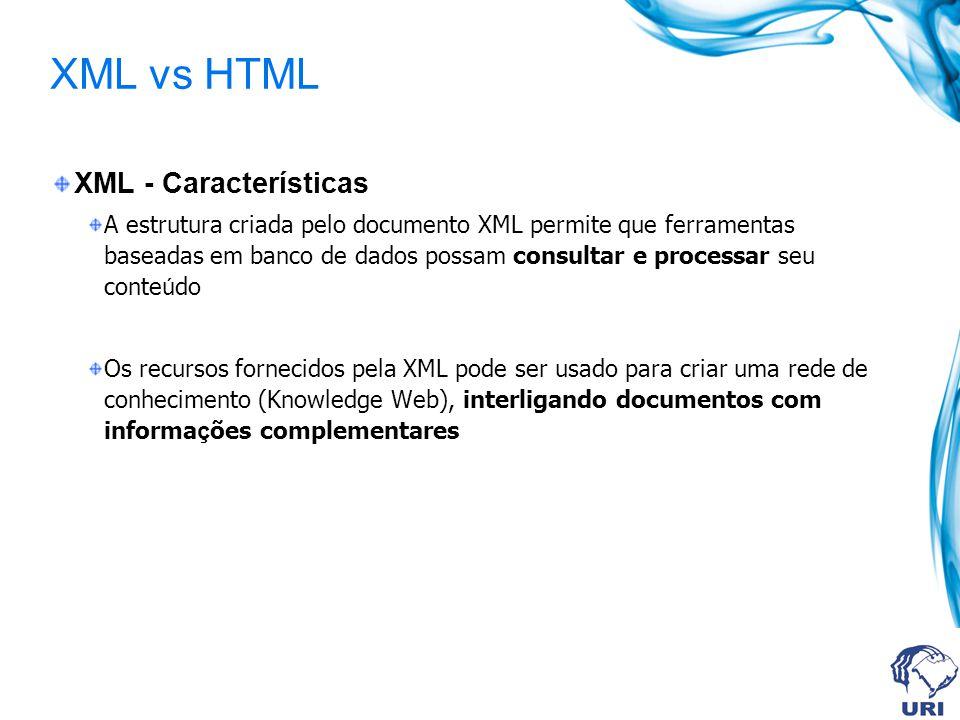 XML vs HTML XML - Características
