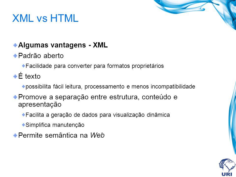 XML vs HTML Algumas vantagens - XML Padrão aberto É texto