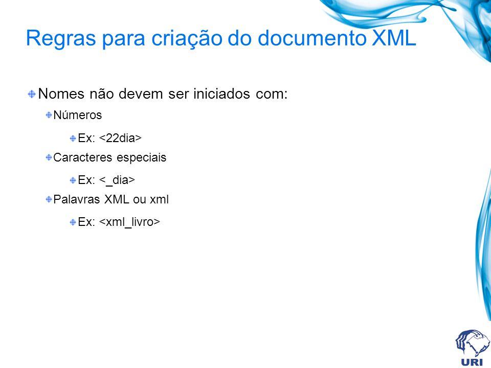 Regras para criação do documento XML