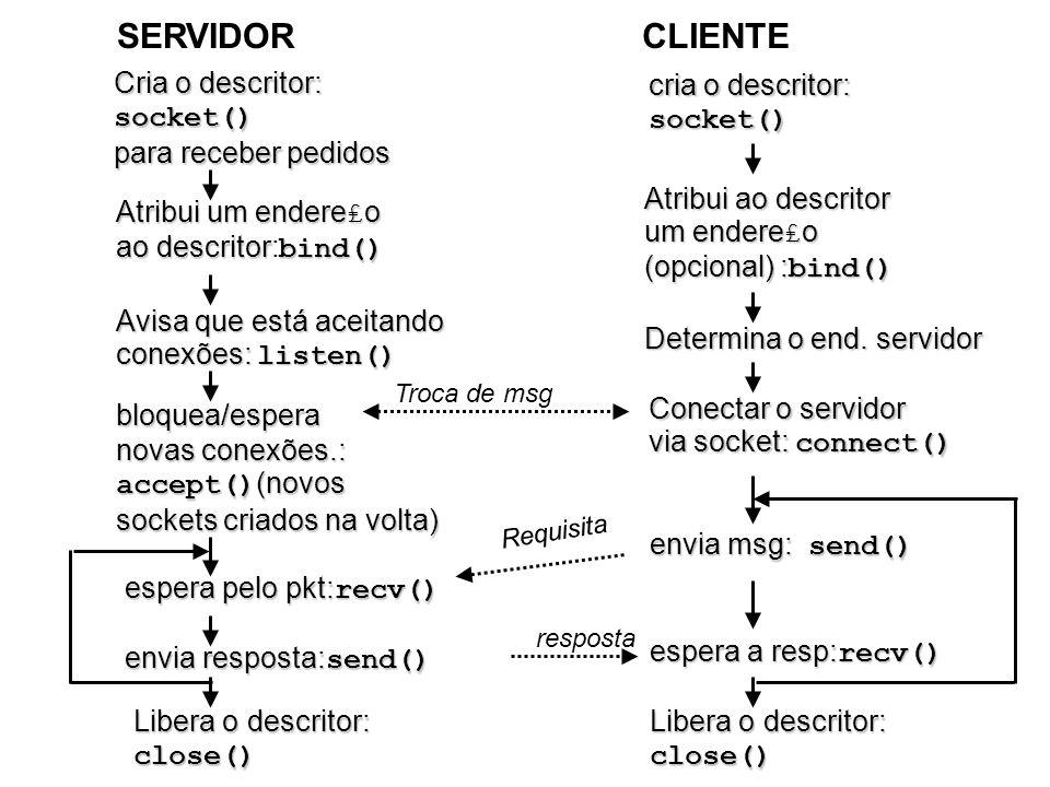 SERVIDOR CLIENTE Cria o descritor: socket() para receber pedidos