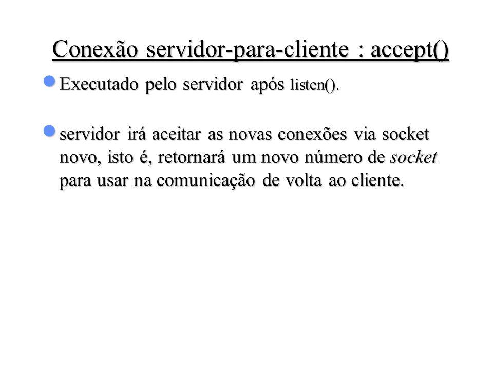 Conexão servidor-para-cliente : accept()