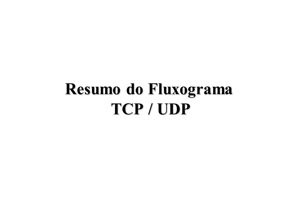Resumo do Fluxograma TCP / UDP
