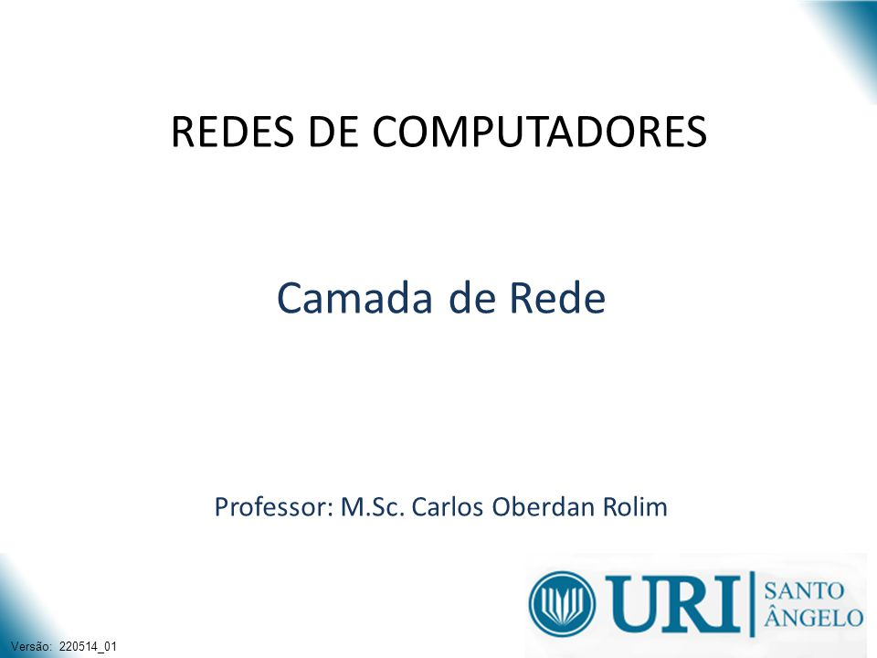 Camada de Rede Professor: M.Sc. Carlos Oberdan Rolim