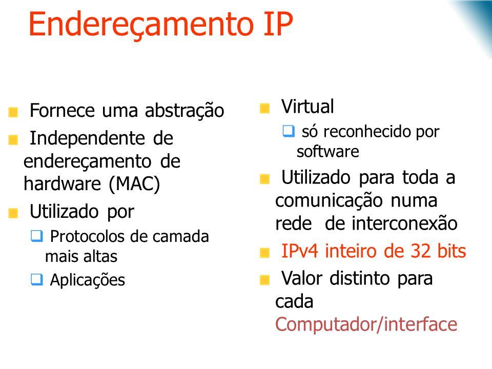 Endereçamento IP Virtual Fornece uma abstração