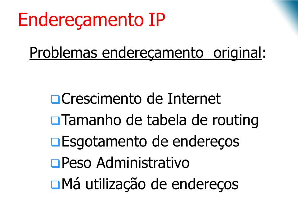 Endereçamento IP Problemas endereçamento original: