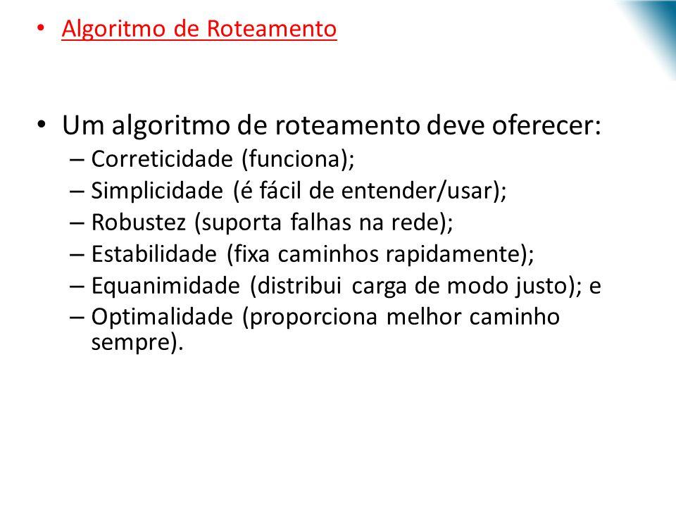 Um algoritmo de roteamento deve oferecer: