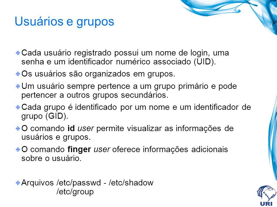 Usuários e grupos Cada usuário registrado possui um nome de login, uma senha e um identificador numérico associado (UID).