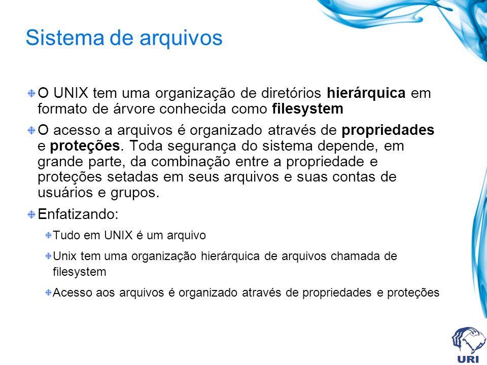 Sistema de arquivos O UNIX tem uma organização de diretórios hierárquica em formato de árvore conhecida como filesystem.