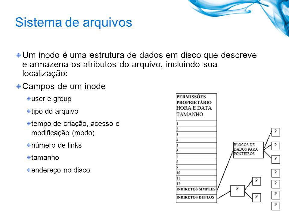 Sistema de arquivos Um inodo é uma estrutura de dados em disco que descreve e armazena os atributos do arquivo, incluindo sua localização: