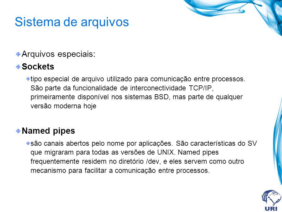 Sistema de arquivos Arquivos especiais: Sockets Named pipes