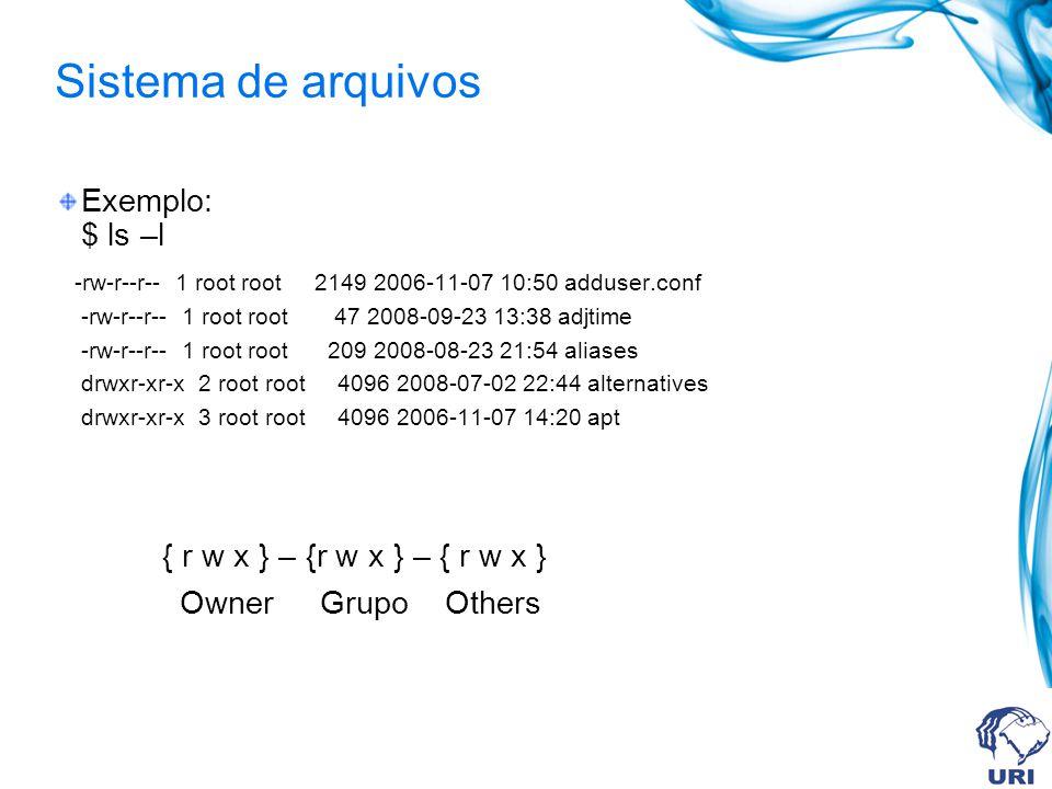Sistema de arquivos Exemplo: $ ls –l { r w x } – {r w x } – { r w x }