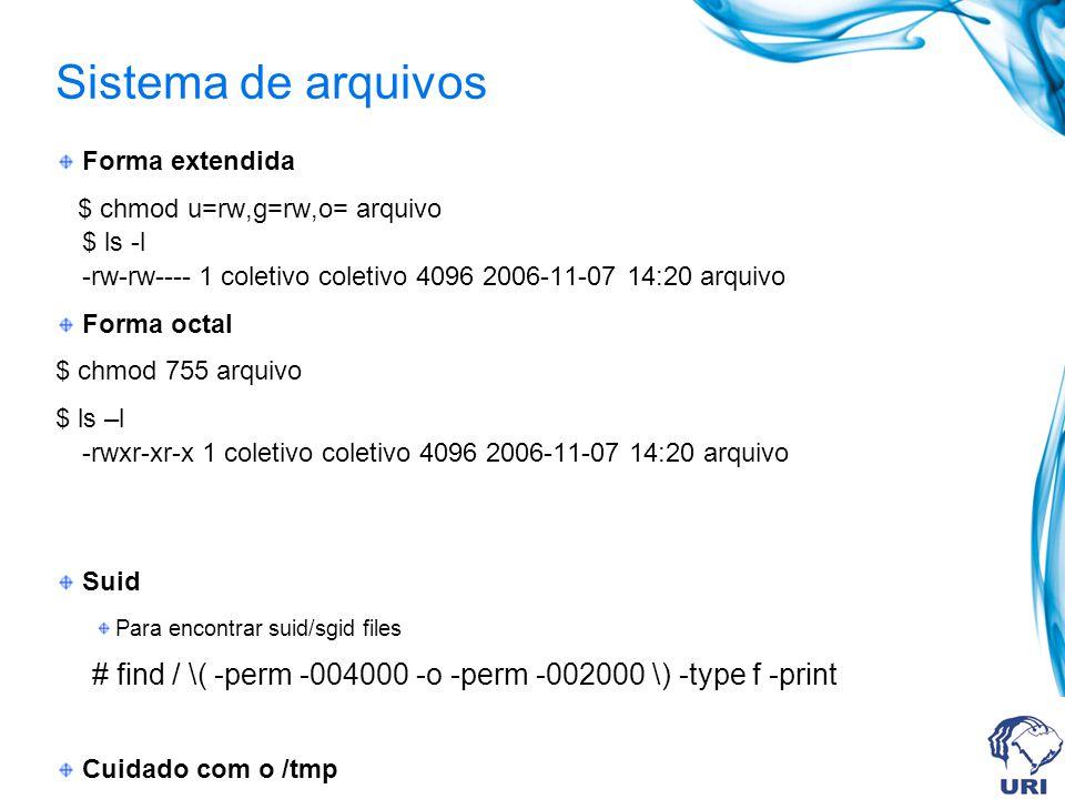 Sistema de arquivos Forma extendida. $ chmod u=rw,g=rw,o= arquivo $ ls -l -rw-rw---- 1 coletivo coletivo 4096 2006-11-07 14:20 arquivo.