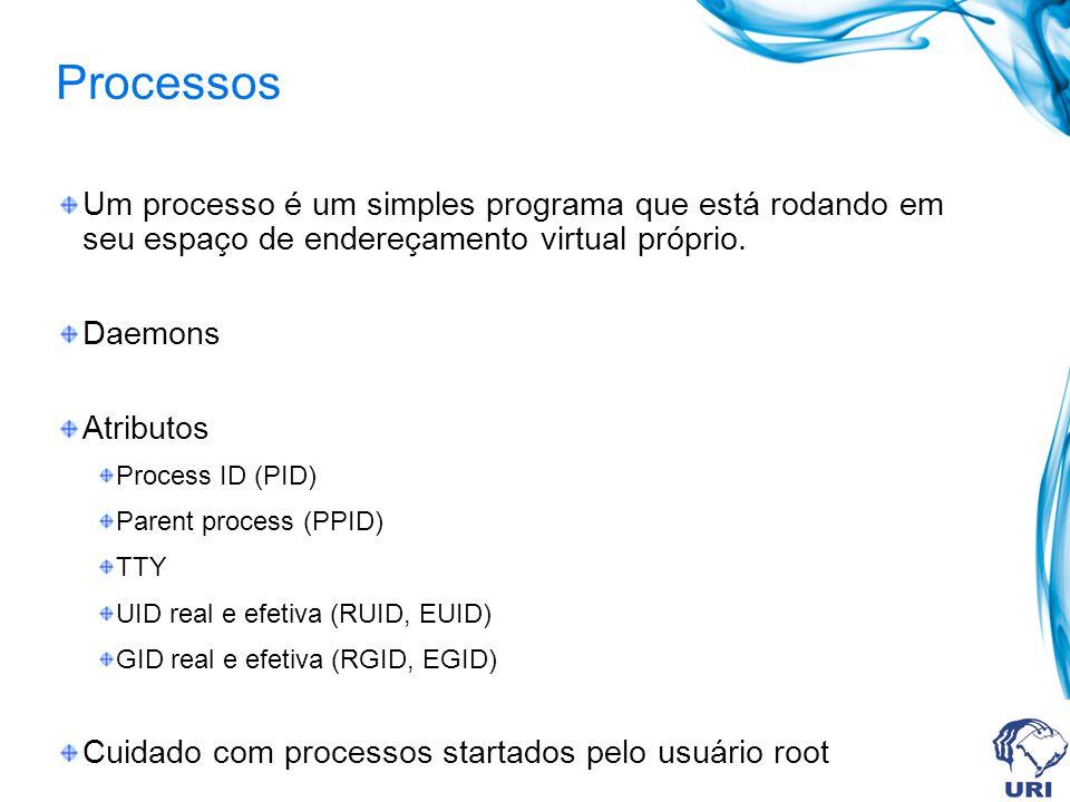 Processos Um processo é um simples programa que está rodando em seu espaço de endereçamento virtual próprio.